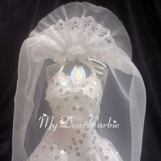 Long Tail Wedding Gown for Barbie Dolls, White#03