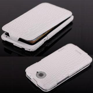 HTC One X Weiß Elegante Krokodil Handy Leder Tasche Hülle Etui Case