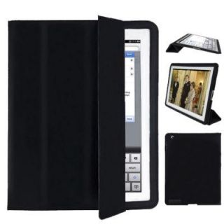 Ipad 2 Black PU Leather Smart Cover/Flip Case (Front and Back Cover