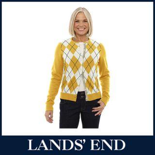 LANDS END Feinstrick Damen Argyle Strickjacke Cardigan Damenjacke