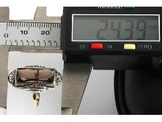 NEUWERTIGER RING GOLD 333 & 835 SILBER MIT MARKASIT RAUCHQUARZ CA. 4.6