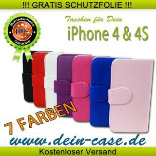 iPhone 4 4S Leder Tasche Case Cover Etui Schutz Huelle Schale Bumper