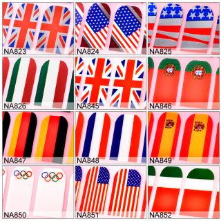 2012 OLYMPICS Fever Nail art National Flag decals stickers Wraps/Foils