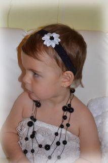 Reborn Baby Mädchen Haarband Stirnband SCHWARZ WEIß NEU 91