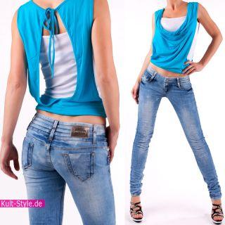 RÖHRENJEANS DAMEN Jeans Hose LIGHT BLAU 32 40 NEU #524