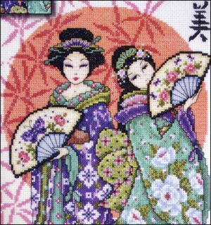 Stickpackung DESIGN WORKS   Two Geishas 2703   14 counted Cross Stitch