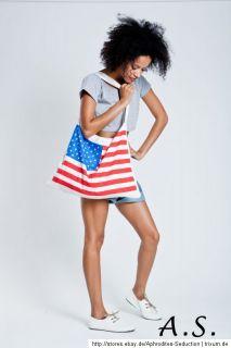 Top Shop für Tasche FAHNE Canvas American Flaggen Flag USA Shopper
