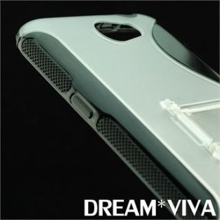 Black Brushed Clear Stand Tpu Soft Gel Case For Samsung Galaxy Note 2