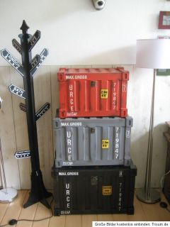 XL Truhe Holz Container Vintage Metall Optik Grau 64 cm Deko Loft