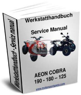 Werkstatthandbuch, Reparaturanleitung Aeon Cobra RS 180   125 Quad ATV