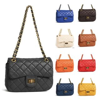 New Mini Vivid Colored Gold Chain Quilted Shoulder Crossbody Bags