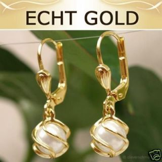 Ohrringe Perle Ohrhänger Brisur Perlenohrringe 333 GOLD