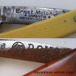 alte Rasiermesser in Schachtel Ernst Melcher Weyer Solingen +Carl