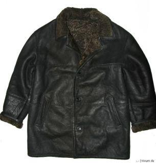 Schau mal Herren  Lammfelljacke / Lederjacke/ Jacke in schwarz Gr