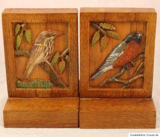 schwere Buchstützen Buchstütze aus Holz Handarbeit Vogelmotive