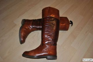 Edele ITALIENISCHE Echt Leder Stiefel Reiterstiefel Vintage Blogger