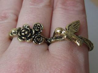 Doppelring Zwei Finger Ring Vogel Blüten double ring bird goldfarben