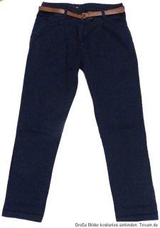 Trendige Chinos Chino Hose von H&M Marineblau mit Gürtel Gr. 38