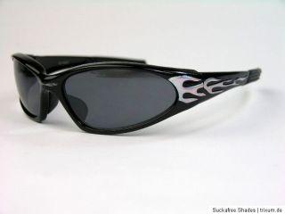 Biker Sonnenbrille Motorradbrille schwarz Flammen Design NEU XFL