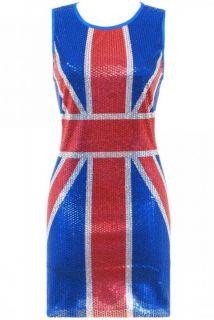 Union Jack Dress Flag Sequin Uk Sizes 10 12 14 Mini Party Club Fancy