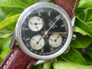 HEUER CARRERA 2447 PANDA DIAL 3 REGISTER CHRONOGRAPH**