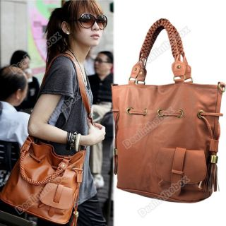 New Korea Fashion Women Girl Tassels Style Shoulder Bag PU Leather
