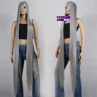 150cm Dark Grey Heat Styleable Extra Long Cosplay Wigs 81_906