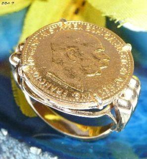 585 / 916 Gold Ring Münze 10 Kronen St.Schwartz   354 7