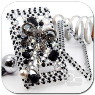 Black Bow BLING Rhinestone Gem Hard Skin Case Cover For Samsung