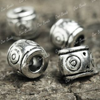 100 Pcs Tibetan Silver Tube Beads Spacer Finding TS918