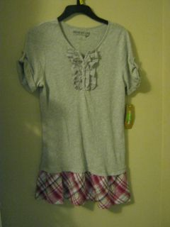 new Dream out Loud Selena Gomez gray ruffle and plaid dress juniors