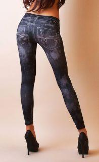 2te Haut Leggings Jeggings Risse Jeans Print Optik Anthrazit Biker