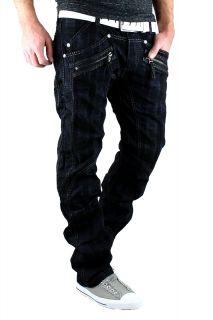 KOSMO LUPO Jeans Designer Herren Hose Schwarz mit Zipper Cargo