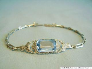 Elegantes ART DECO Silber Armband Aquamarin Silber 935