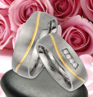 Titan Trauringe Partner Ringe mit IP Gold Platierung & GRAVUR GRATIS