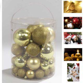 50 DESIGN WEIHNACHTSKUGELN CHRISTBAUMKUGELN IN Gold NEU