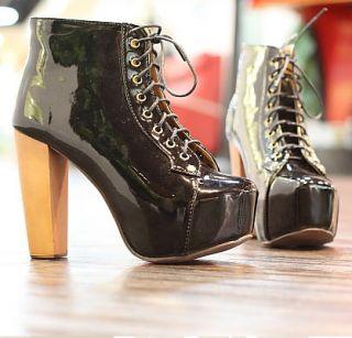 Schnür Schuhe Plateau Riemchen Pumps Stiefeletten High Heels Ankle