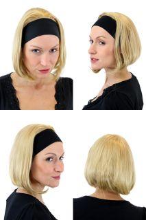 Coole Damen Perücke 3/4 Perücke Stirnband Blond Glatt Mittellang Wig