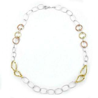 Kette Ringe oval 3 fach tricolor 925 Silber 53 cm Damen Silberkette