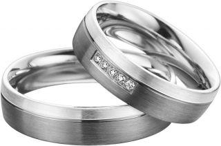 Eheringe Hochzeitsringe aus 585er Palladium/925er Silber mit Brillant