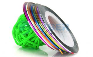 10 Color Rolls Striping Tape Line Nail Art Decoration Sticker