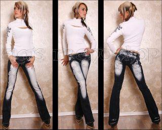 Crazy Age Damen Jeans Hüftjeans Bootcut Tattoo Tribal Neu Gr.38 W28