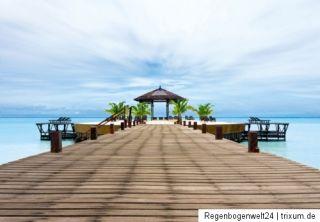 Fototapete Ozean Meer Palmen Karibik Steg 254x366 Photo Bild Tapete