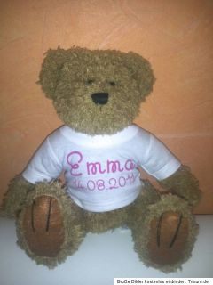 Teddy Bär mit bedrucktem T Shirt ; Name ; Geburtstag ; Ich liebe Dich