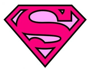 SUPERMAN LOGO PINK IRON ON T SHIRT TRANSFER A4