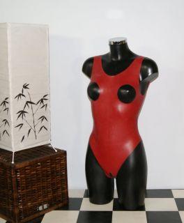 Latex Gummi Rubber Body Suit Catsuit Gummianzug Ouvert Rot S XL von
