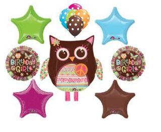 HIPPIE OWL birthday party supplies decorations stars peace LOVE tween