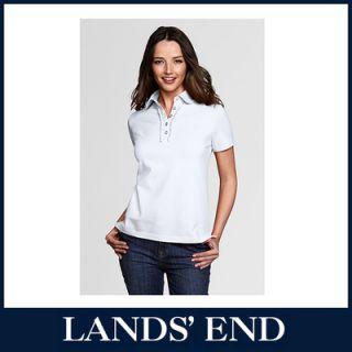 LANDS END Damen Piqué Poloshirt Shirt kurzarm T Shirt Rüschen