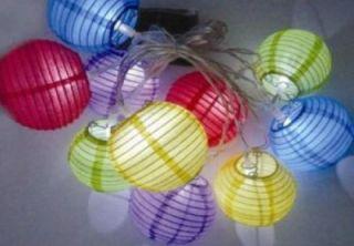 Solar LED bunte Lampionkette Lampions Lampion Kette Lichterkette
