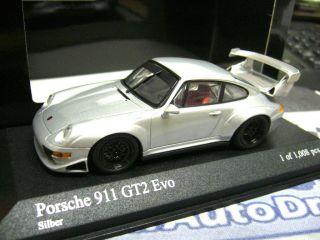 PORSCHE 911 993 GT2 EVO silber silver 1995 limited PMA Minichamps 143